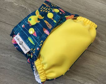 Cloth Diaper Cover or Pocket Diaper : Gone Fishing (One Size)