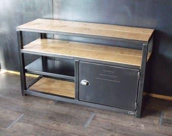 meuble tv banc bois massif et acier style industriel. Black Bedroom Furniture Sets. Home Design Ideas
