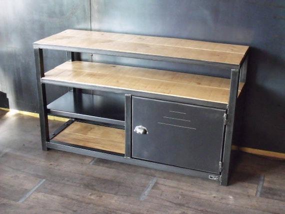 meuble tv industriel bois m tal esprit loft sur mesure. Black Bedroom Furniture Sets. Home Design Ideas