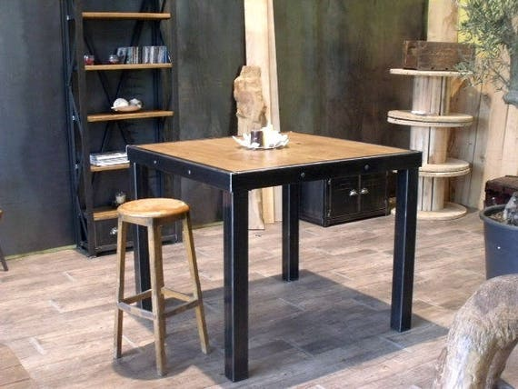articles similaires table mange debout bois m tal style industriel sur etsy. Black Bedroom Furniture Sets. Home Design Ideas