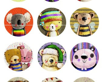 Bear 12 Digital Images/designs for cabochon 20 and 25mm round