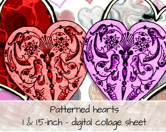 Patterned hearts, red pink orange, background swirls, marble effect, 1 and 1.5-inch hearts, digital collage sheet, instant download
