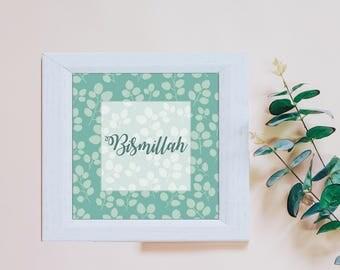 Islamic Wall Art Print - Bismillah Teal Leaves (unframed) - Home Decor Muslim Gift - Eid Gift