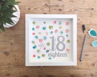Fingerprint birthday guest book. Party guest book. 18th birthday guest book. Birthday guest book. Birthday present. Gift for 18th birthday.