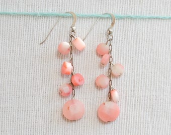 Pink stone drop earrings with sterling silver chain and hooks