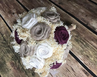 Wine, Ivory, and Natural Large Bridal Bouquet, Burlap Bridal Bouquet, Wedding Bouquets, Burlap Bouquets, Rustic Bouquets, Burlap Weddings