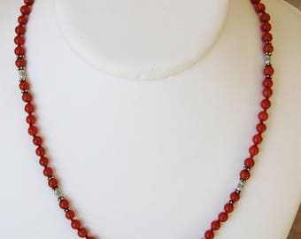 Necklace with red coral from Corsica certifiē genuine (see 49)