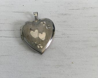 1990s vintage sterling silver heart locket for valentines day 925 and rhodium plated