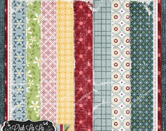 On Sale 50% Butterflies and BlueJeans Worn Papers Digital Scrapbook Kit - Digital Scrapbooking