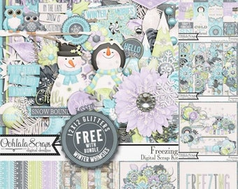On Sale 50% Off Freezing Winter Snowman  Digital Scrapbook Kit Bundle