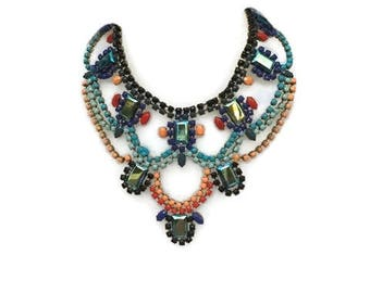 TOUCAN hand painted rhinestone super statement necklace