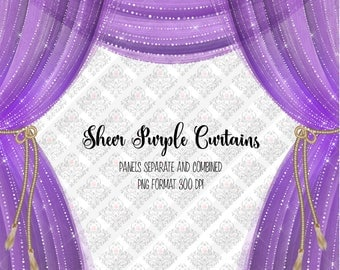 Sheer Purple Curtains Clipart Diamond Sparkle Stage Theater Curtain For
