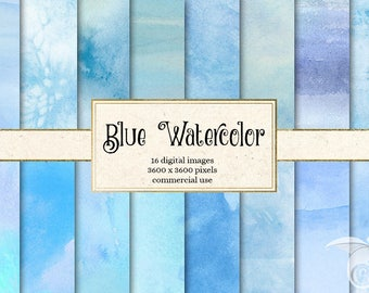 Blue Watercolor Textures, blue watercolour digital paper, printable scrapbook paper paint backgrounds, baby shower, instant download