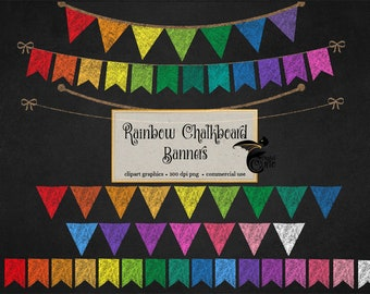 Rainbow Chalkboard Bunting Banners Clip Art, Back to School clipart, school banners, PNG Clipart set for Commercial Use, DIY Make Your Own