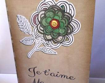 I love you MOM mother's Day card handmade 21cm x 15cm