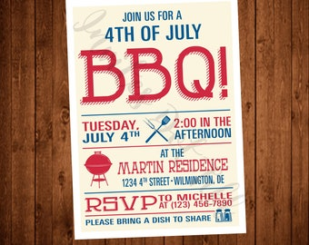 BBQ Invite (Printable, 4th of July Party, Red, Blue, Grill, Modern, Retro)