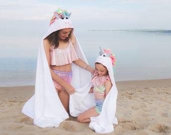 Adult/ Youth Unicorn hooded towel, Unicorn Beach towel, Unicorns, Pool Towel, Unicorn Set, Stitches by Natalie, Unicorn bath towel