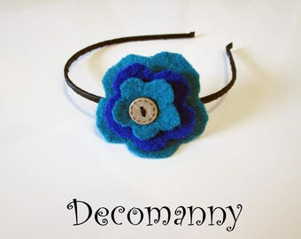 Turquoise blue felted wool flower headband and electric blue