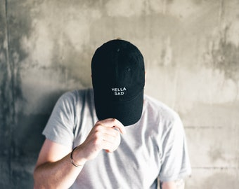 Black Hella Sad Dad Cap Low Profile Hat Snapchat **Free Domestic Shipping**