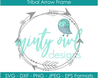 SVG DXF PNG Cut File - Cricut - Tribal Circle Arrow Frame Monogram - Monogram Frame Cut File - Bohemian - Boho - Cricut Silhouette
