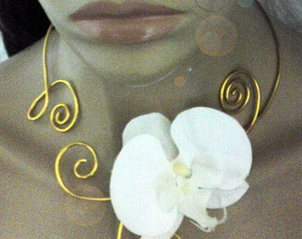 Gold and white collar with free back jewelry, aluminum and Orchid to customize
