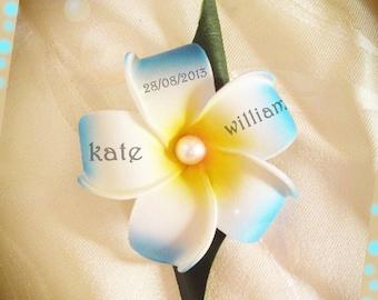 turquoise customize frangipani flowers boutonniere