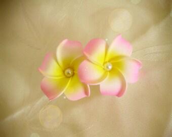 Pink hair barrette clip double plumeria flower