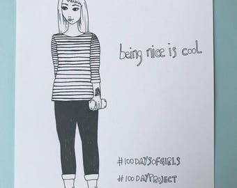 Simple girl illustrations with handwritten text, original feminist art