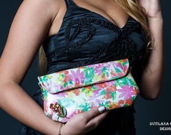 Leaher clutch Women bright handbag Purse with vintage brooch Flower design women purse Pink handbag Genuine leather clutch Lovely handbag