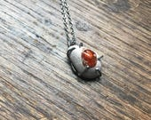 Mexican Fire Opal Gemstone Crystal Necklace