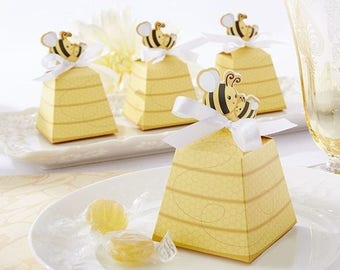 little bee favor boxes,baby shower favor boxes,candy boxes,cookies container /20pcs