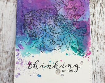 Thinking of You Card, Hello Card, Handmade Greeting Card