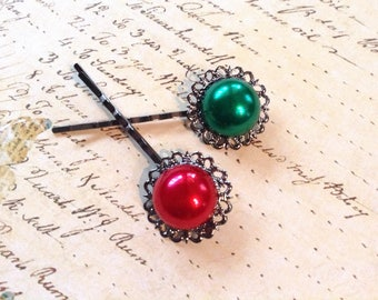 Red And Green Big Pearl Hair Clips