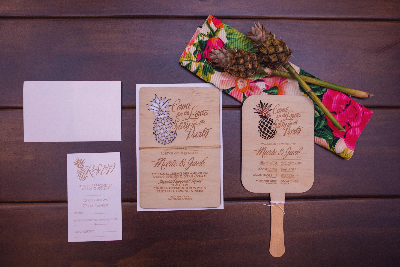 Pineapple laser cut invitation