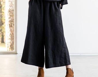 Linen - wool blend MAXI skirt -  pants / Black linen - wool blend skirt - pants