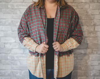 XL green, red and white flannel