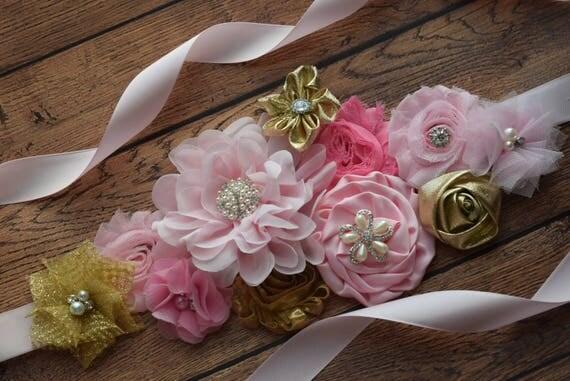 Flower Sash, pink gold  Sash , flower Belt, maternity sash, flower girl sash, baby shower sash
