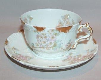 8256: Antique CH Field Haviland Limoges France Tea Cup and Saucer Set Antique Hand Painted Porcelain China at Vintageway Furniture