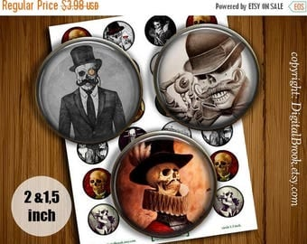 SALE 50% Digital Collage Sheet Skull Gentleman 2 inch 1.5 inch Printable circle images for Pocket Mirrors Magnets Labels Pendant - 176