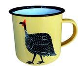 Mug, Enamelware (Tin), Pale Yellow Guinea Fowl design, hand decorated
