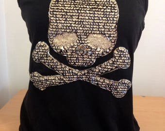 Black Ladies T shirt size 12 Large Skull & Bone Sequence Goth Steam Punk Rock Chick Girl Gothic