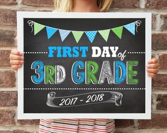 "3rd Grade, Back to School Poster, DIGITAL Printable File, FIRST Day & LAST Day includ. 4 Sizes: 8x10"", 11x14"", 16x20"", 20x30"" includ."