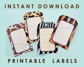 Jungle Safari / African Wildlife Adventure Theme / Thank You Tags / Favor Tags / Gift Tags / Printable PDF / DiY Editable INSTANT DOWNLOAD