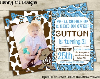 Cowboy Invitation, With Picture, Western Invite, Boot Invite, Boy Invite, Cowboy Hat, Blue Bandana, Cow Print, Cowboy Boots, Blue, Brown