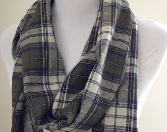 Green Plaid Flannel Scarf, Kale Flannel Scarf, Green Plaid Scarf, Kale Plaid Flannel, Plaid infinity Scarf, Olive Infinity, FREE SHIPPING