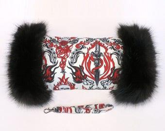 Flaming Skulls Hand Muff with Black Faux Fur Trim