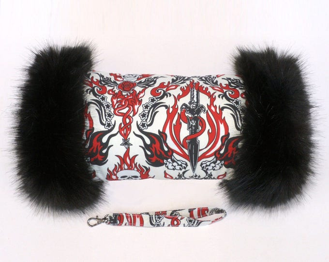 Flaming Skulls Hand Muff with Black Faux Fur Trim