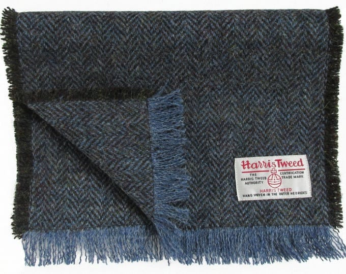 Harris Tweed Blue Glen Herringbone Pure Wool Neck Scarf