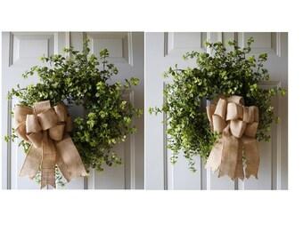 Double Door Wreaths, Eucalyptus Boxwood Spring Summer Wreaths for Front Door, Front Door Wreaths, Home Decor