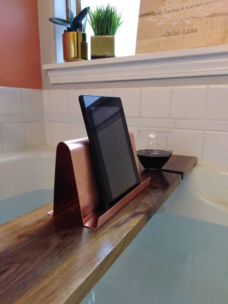 35 inch Modern Walnut Hardwood Bathtub Tray and Caddy with copper or ...